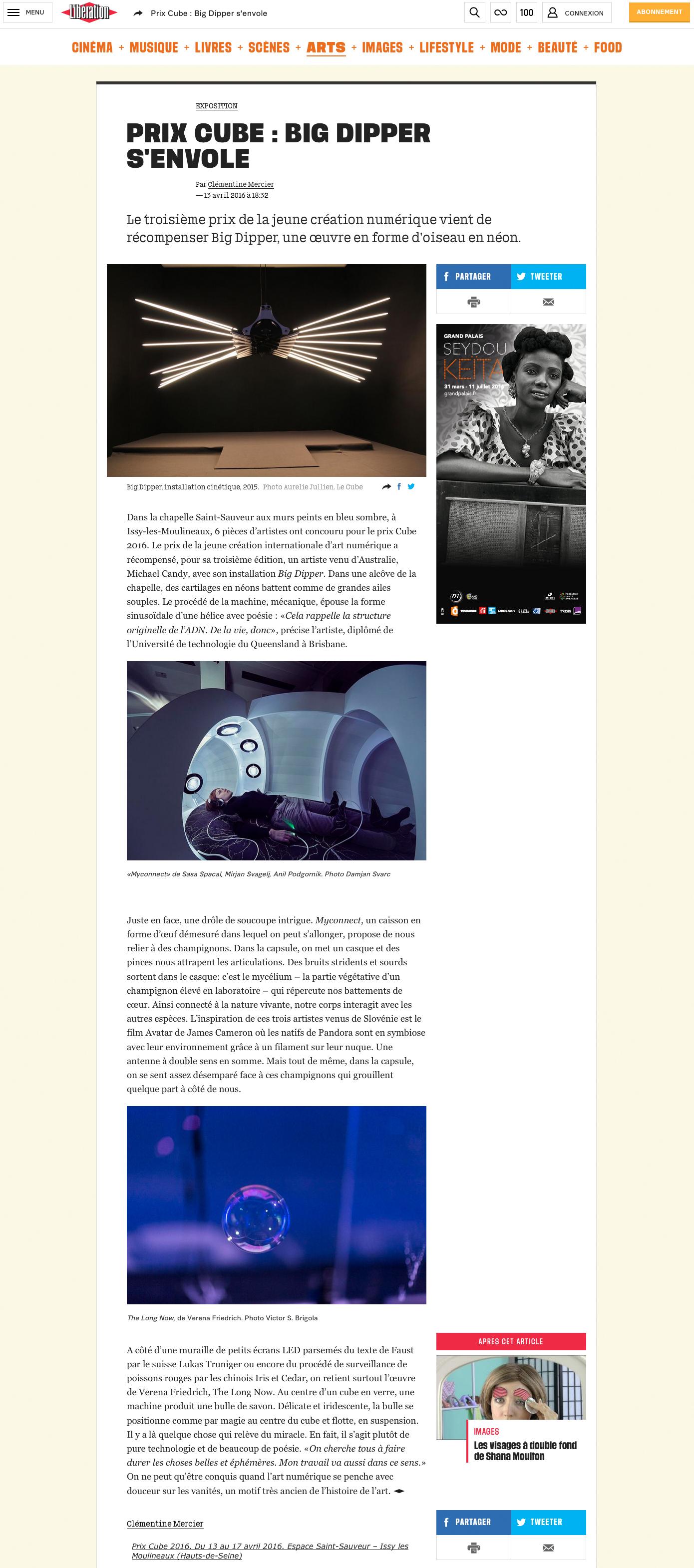 """""""Prix Cube : Big Dipper s'envole"""" liberation.fr"""