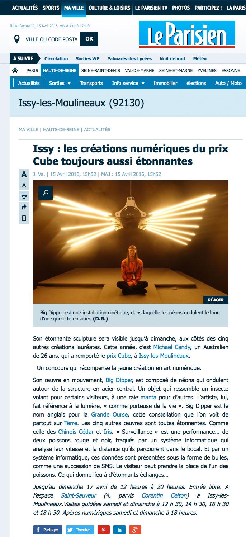 """""""Les créations numérique du Prix Cube toujours aussi surprenantes"""" leparisien.fr"""